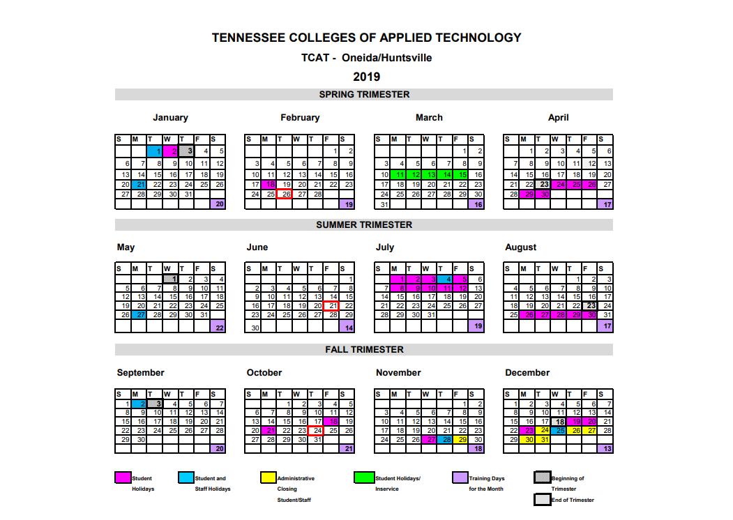 Tntech Calendar.Academic Calendar Tcat Oneida